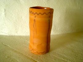 Terracotta vase with iron oxide decor