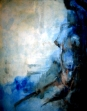 'Self-portrait' in blue, oil on canvas