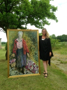 Katherine and her portrait of HRH Queen Margrethe II of Denmark