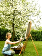 Katherine painting outdoors