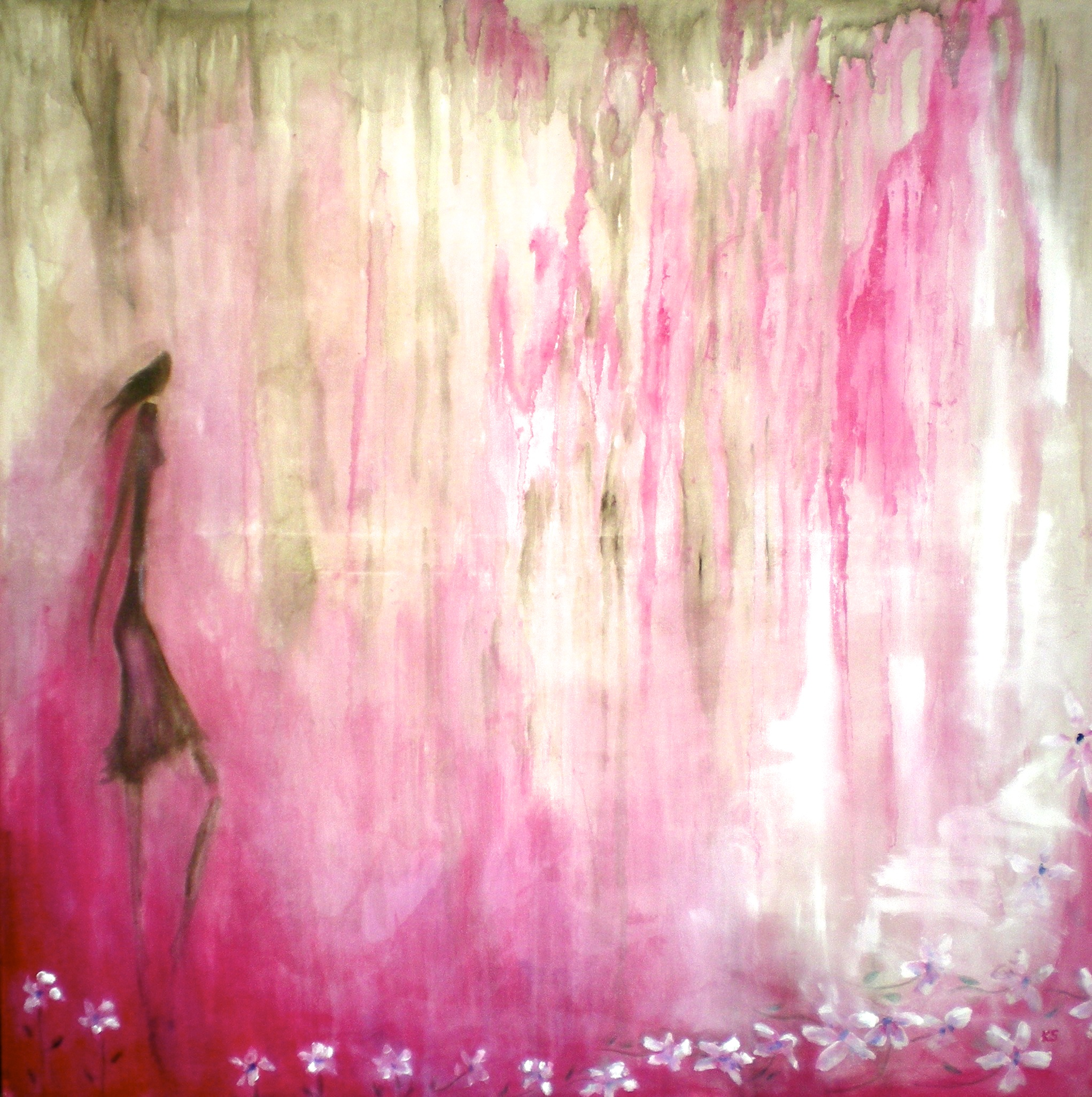 'Walking in the Pink' (sold) oil on canvas 100x100cm Katherine Scrivens Eje