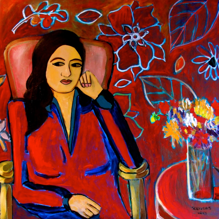 'The Red Room' Acrylic on canvas - Katherine Scrivens