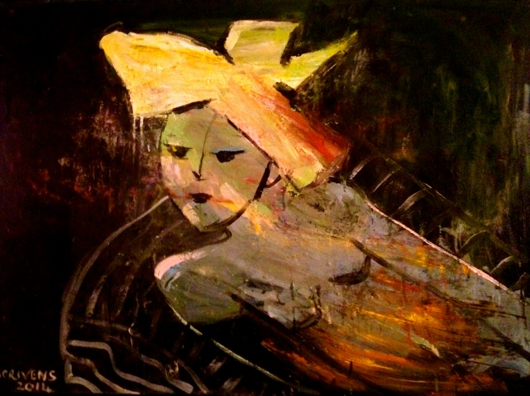 'Say What?' mixed media on canvas - Katherine Scrivens Eje