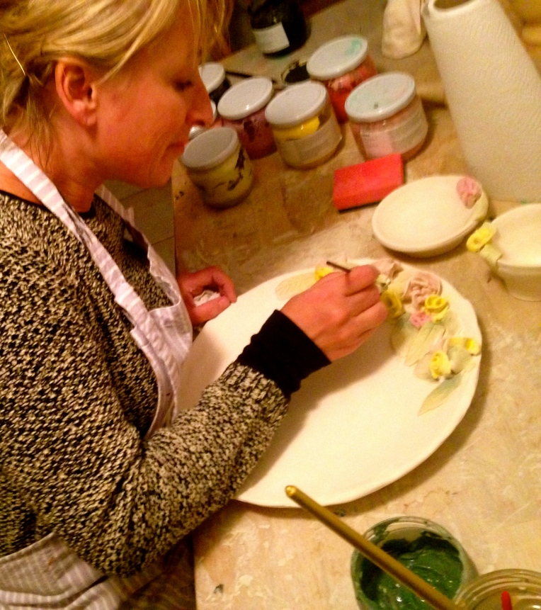 Working into the night in the pottery workshop.  Cake plate, cream jug and sugar bowl in the making...
