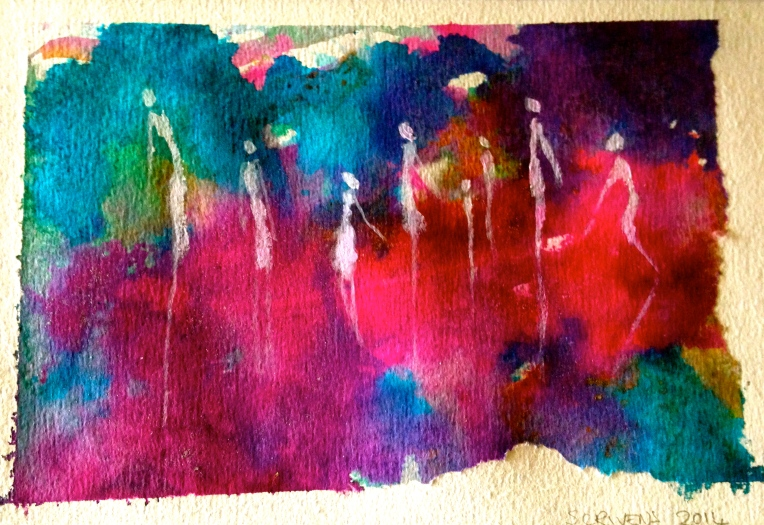 'White Silhouettes' ink & acrylic on paper - Katherine Scrivens Eje
