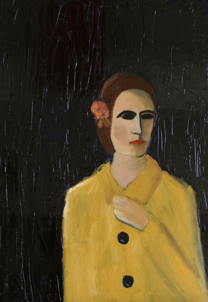 'Woman in Yellow Coat' oil on canvas - 50x80cm - Katherine Scrivens Eje