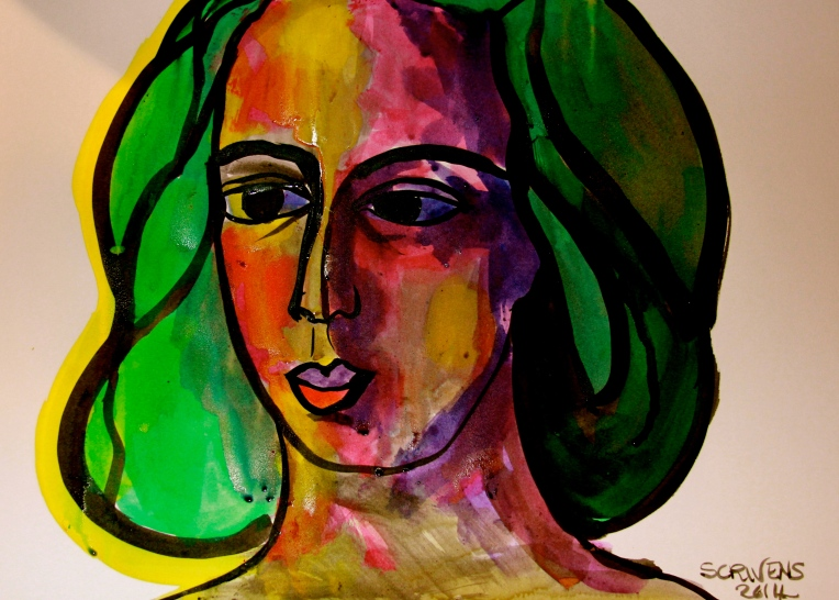 'Young Girl in the Sun' ink on paper - Katherine Scrivens