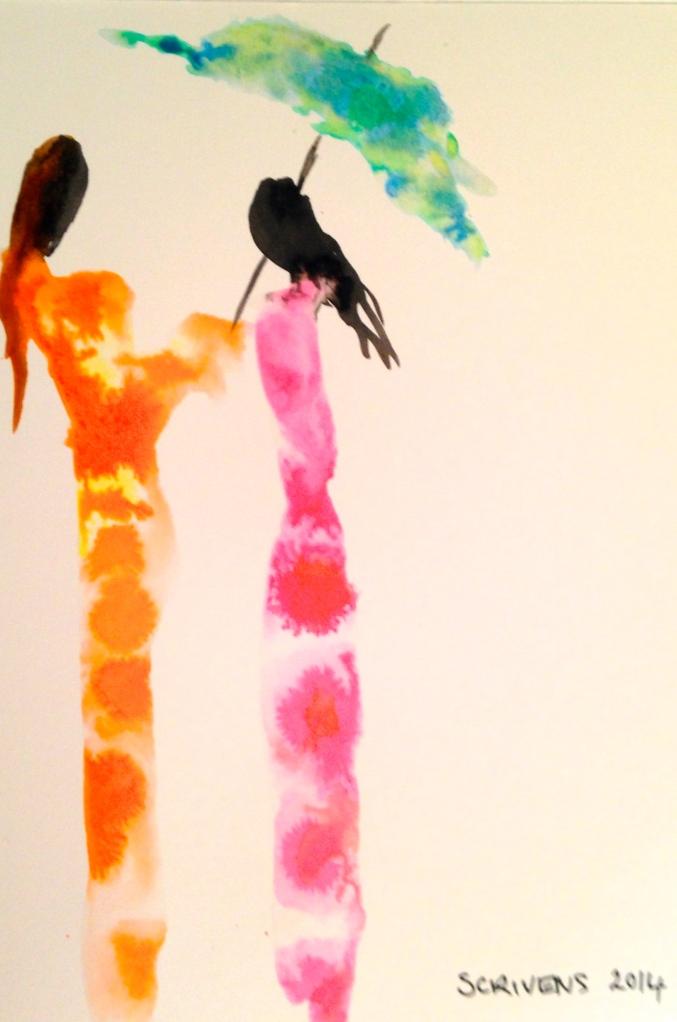 'Friends' Indian Ink on paper - Katherine Scrivens Eje