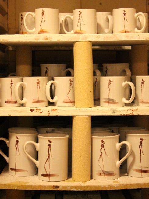 Silhouette Design mugs in the kiln