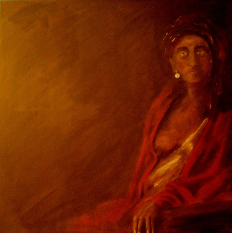 Woman in red - oil on canvas (100x100cm) sold