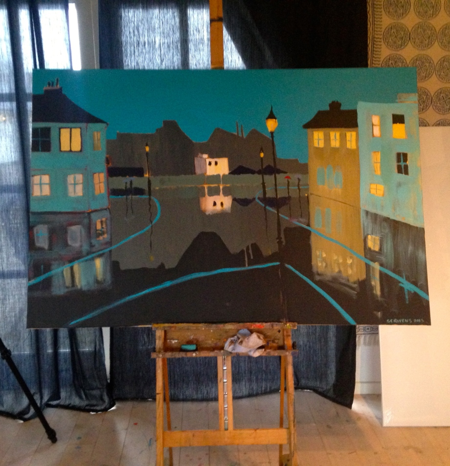 Turqoise Street, acrylic 100x150 cm