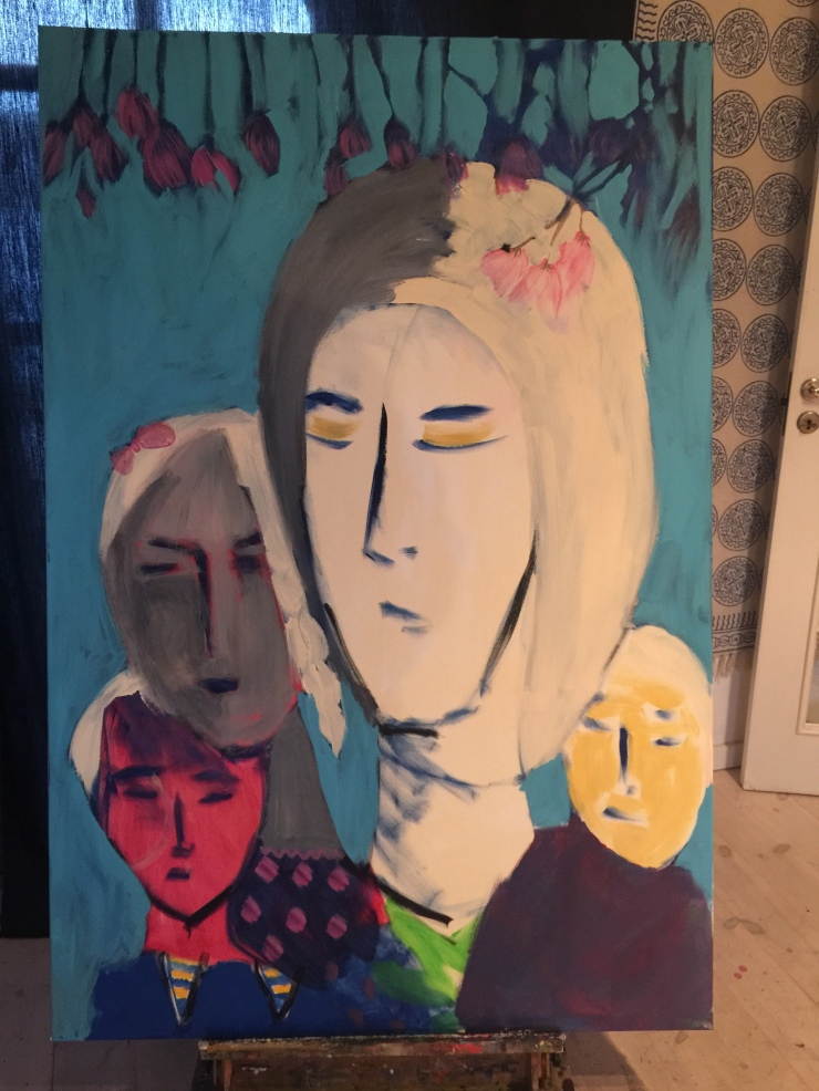 Mother and Children - oil and acrylic on canvas