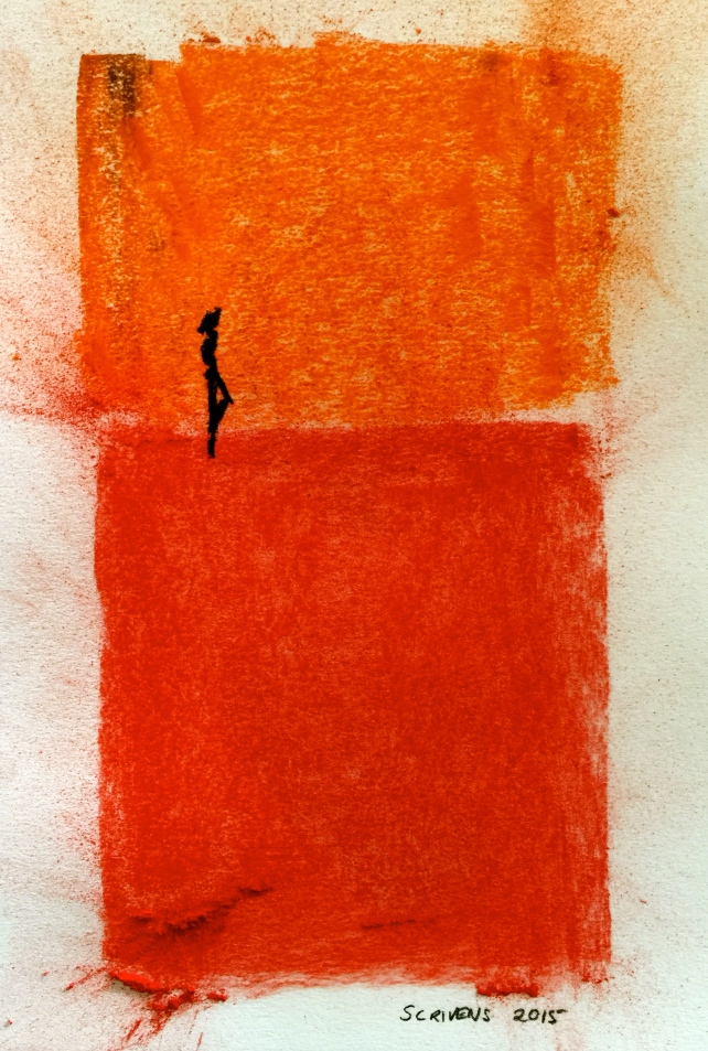 Silhouette on orange and red. Soft pastel on watercolour paper.