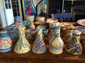 Underglazed pots and vases