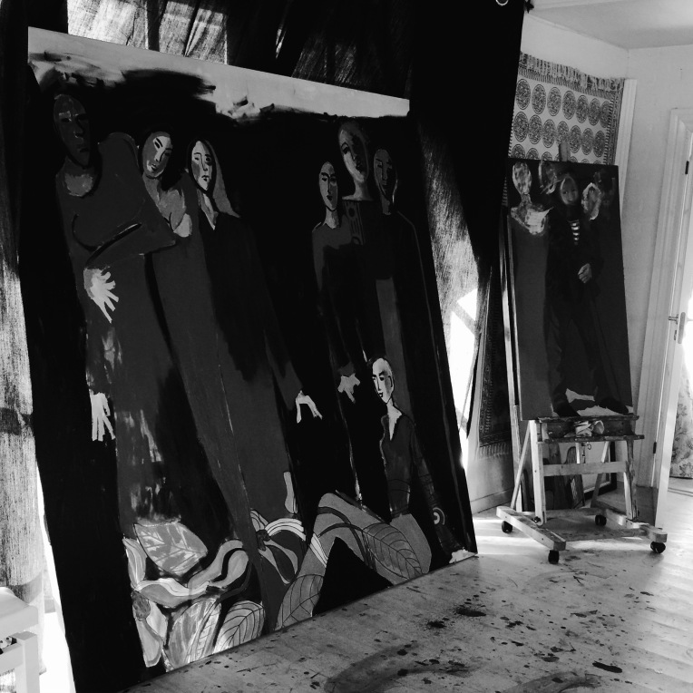 Large black and white painting in the studio