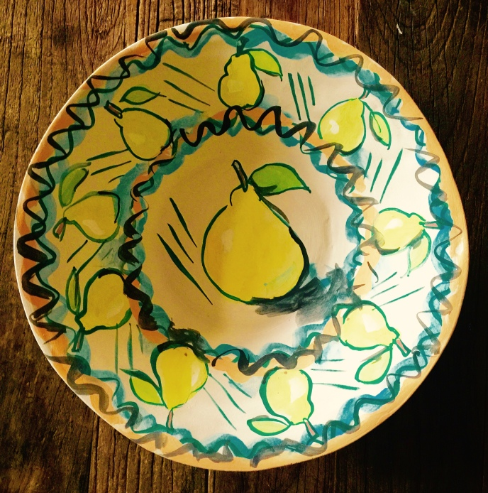 Underglazed bowl with pears