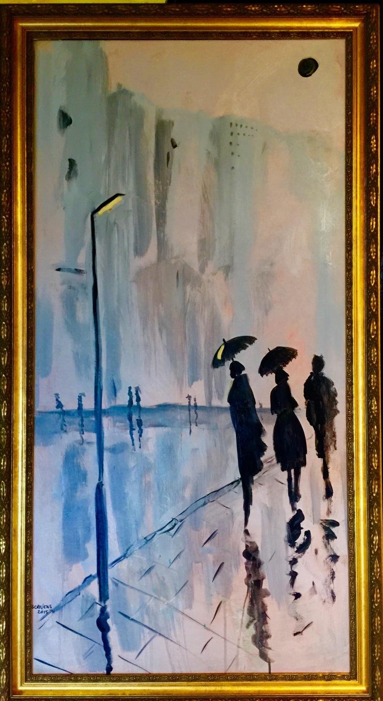 Urban Rain - acrylic 120x50 cm