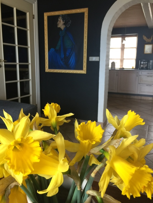 Daffodils and my Lady in Blue portrait
